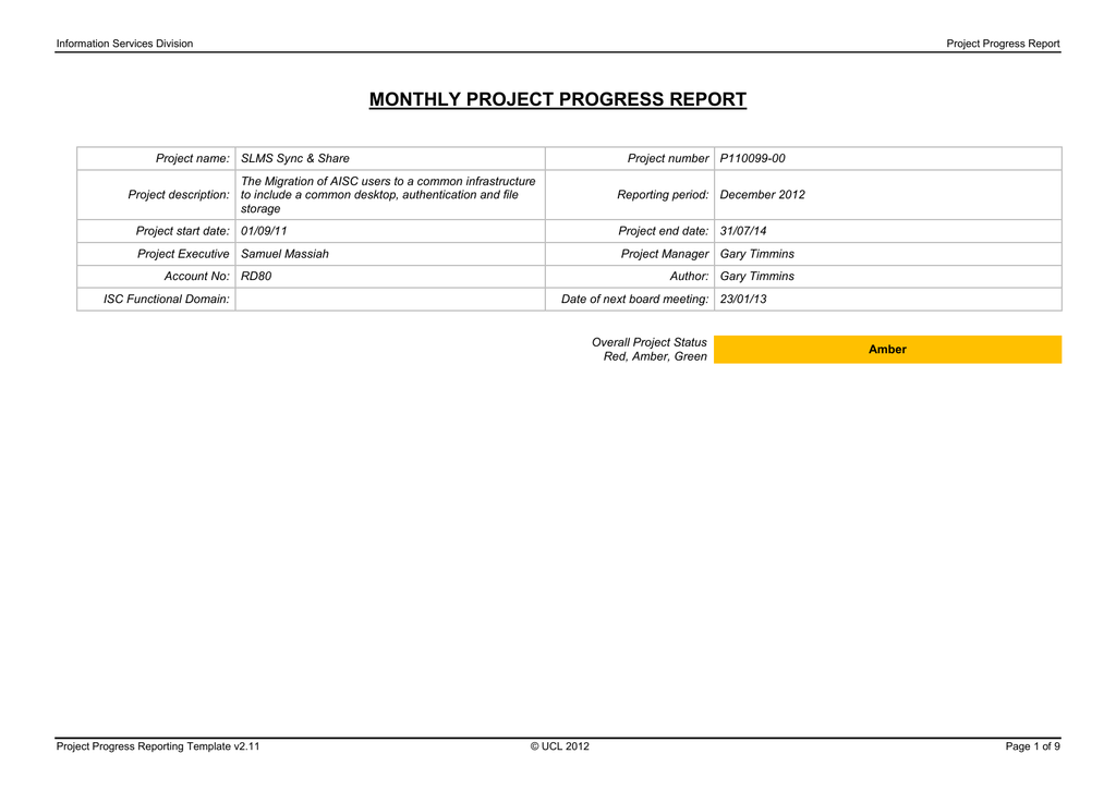Monthly Project Progress Report