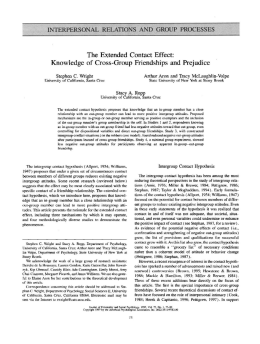 The Extended Contact Effect: Knowledge of Cross-Group Friendships and Prejudice