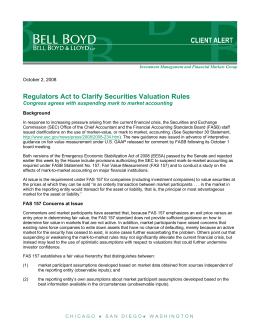 Regulators Act to Clarify Securities Valuation Rules  October 2, 2008