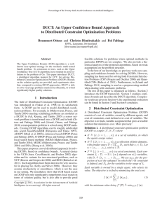 DUCT: An Upper Confidence Bound Approach to Distributed Constraint Optimization Problems