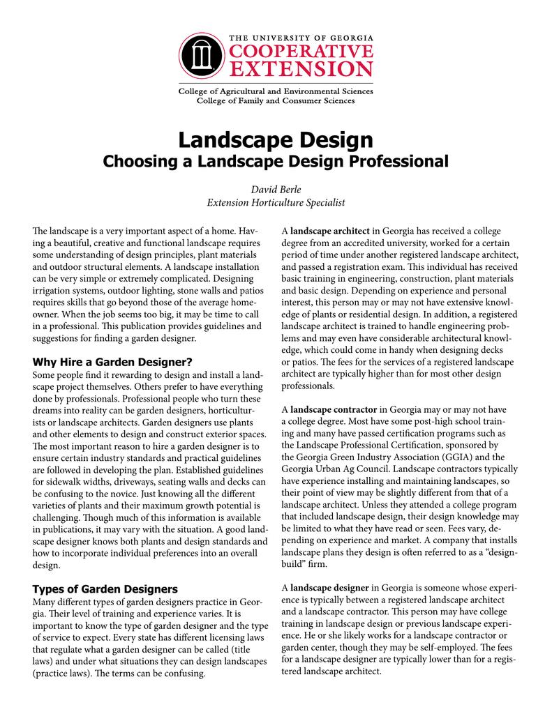 Landscape Design Choosing A Landscape Design Professional David