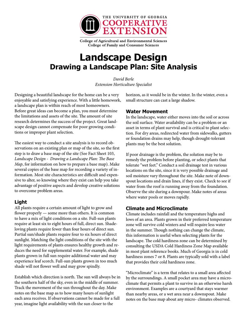 Landscape Design Drawing A Landscape Plan Site Analysis