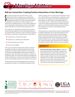 S Bids for Connection: Creating Positive Interactions in Your Marriage