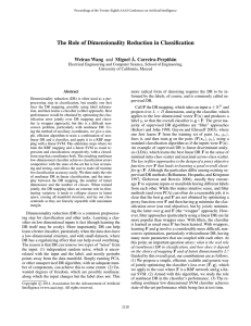 The Role of Dimensionality Reduction in Classification A. Carreira-Perpi ˜n´an