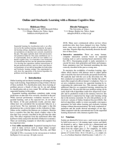 Online and Stochastic Learning with a Human Cognitive Bias Hidekazu Oiwa