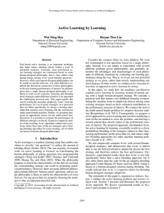 Active Learning by Learning Wei-Ning Hsu Hsuan-Tien Lin