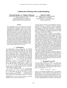 Collaborative Filtering with Localised Ranking Charanpal Dhanjal and St´ephan Cl´emenc¸on Romaric Gaudel