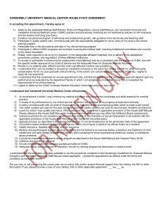 VANDERBILT UNIVERSITY MEDICAL CENTER HOUSE STAFF AGREEMENT