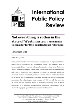International Public Policy Review Not everything is rotten in the