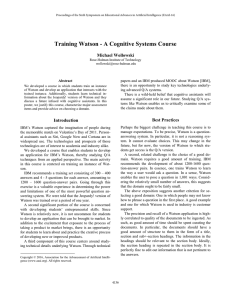 Training Watson - A Cognitive Systems Course Michael Wollowski