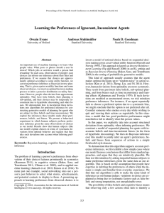 Learning the Preferences of Ignorant, Inconsistent Agents Owain Evans Andreas Stuhlm ¨uller
