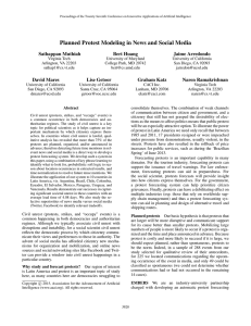 Planned Protest Modeling in News and Social Media Sathappan Muthiah Bert Huang