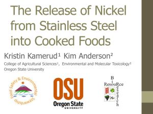 The Release of Nickel from Stainless Steel into Cooked Foods