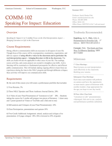 COMM-102 Speaking For Impact: Education Summer 2015