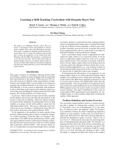 Learning a Skill-Teaching Curriculum with Dynamic Bayes Nets Yu-Han Chang