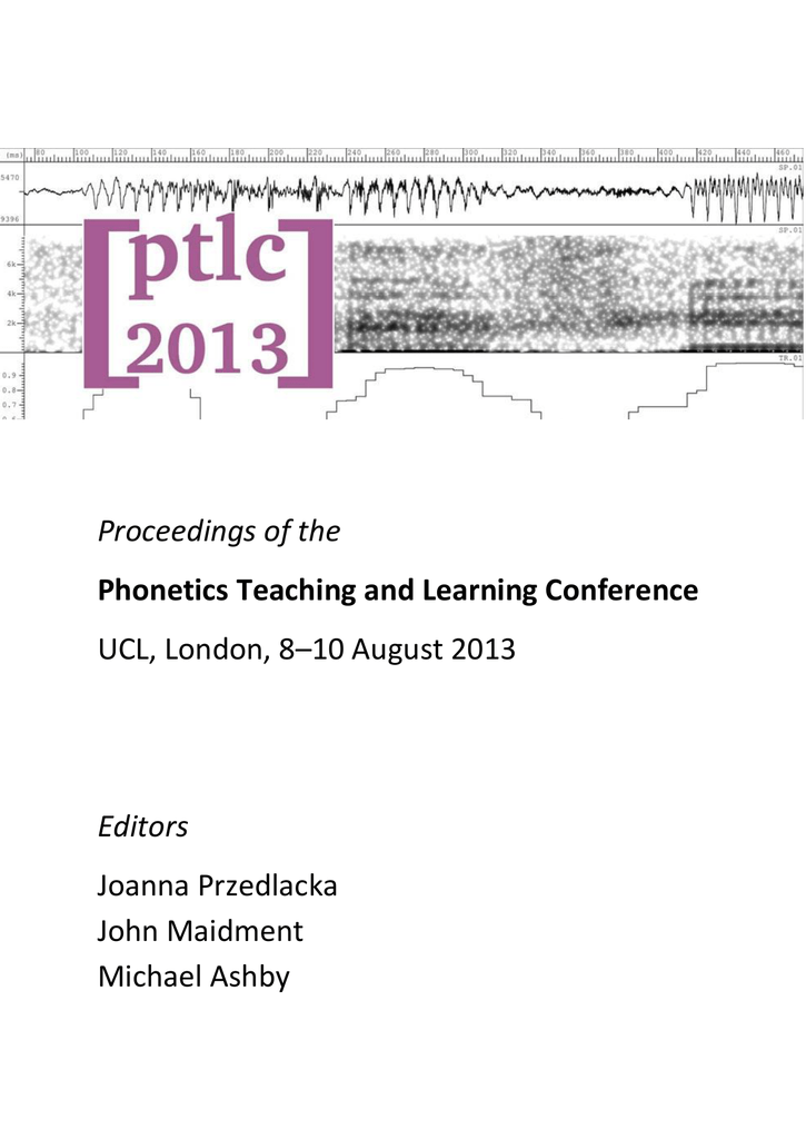 proceedings of the editors phonetics teaching and learning conference