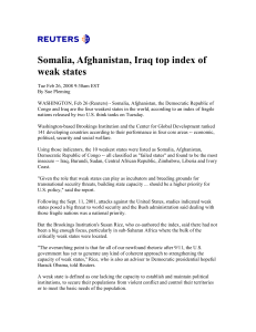Somalia, Afghanistan, Iraq top index of weak states