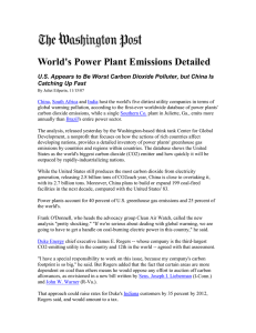 World's Power Plant Emissions Detailed Catching Up Fast