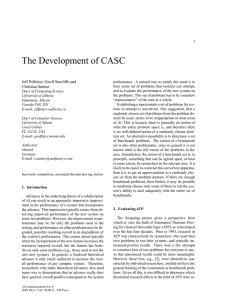 The Development of CASC Jeff Pelletier, Geoff Sutcliffe and Christian Suttner