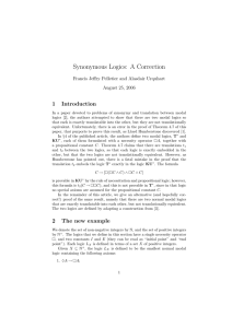 Synonymous Logics: A Correction 1 Introduction Francis Jeffry Pelletier and Alasdair Urquhart