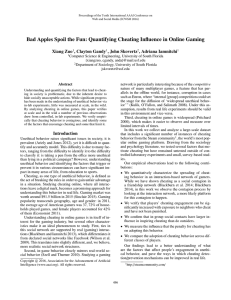 Bad Apples Spoil the Fun: Quantifying Cheating Influence in Online... Xiang Zuo , Clayton Gandy , John Skovertz