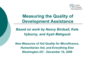 Measuring the Quality of Development Assistance Vyborny, and Ayah Mahgoub