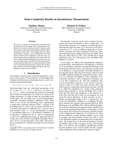 Some Complexity Results on Inconsistency Measurement Matthias Thimm Johannes P. Wallner