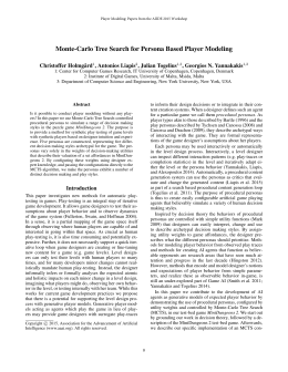 Monte-Carlo Tree Search for Persona Based Player Modeling Christoffer Holmg˚ard