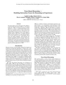 Trace-Based Reasoning — Modeling Interaction Traces for Reasoning on Experiences