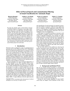 Effect of Part-of-Speech and Lemmatization Filtering Rogerio Bonatti Arthur G. de Paula