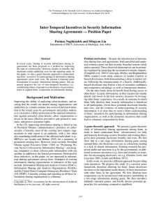 Inter-Temporal Incentives in Security Information Sharing Agreements — Position Paper