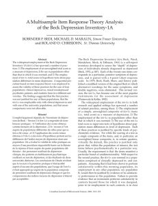 A Multisample Item Response Theory Analysis of the Beck Depression Inventory-1A