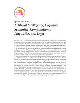 Artificial Intelligence, Cognitive Semantics, Computational Linguistics, and Logic Special Track on