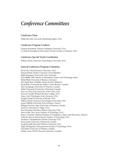 Conference Committees Conference Chair Conference Program Cochairs