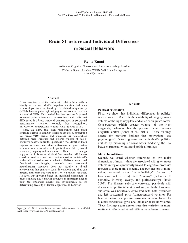 Brain Structure and Individual Differences in Social