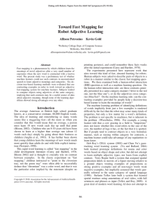 Toward Fast Mapping for Robot Adjective Learning