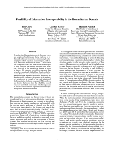 Feasibility of Information Interoperability in the Humanitarian Domain Tim Clark Carsten Keßler