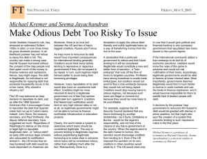 Make Odious Debt Too Risky To Issue  T