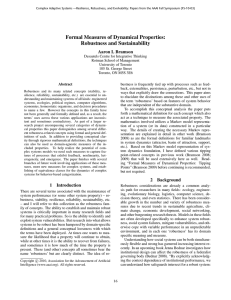 Formal Measures of Dynamical Properties: Robustness and Sustainability Aaron L Bramson