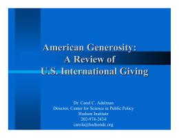 American Generosity: A Review of U.S. International Giving