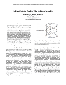 Modeling Context in Cognition Using Variational Inequalities School of Computer Science