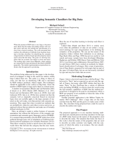 Developing Semantic Classifiers for Big Data Richard Scherl