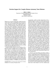 Decision Support for Complex Human-Autonomy Team Missions Julie A. Adams