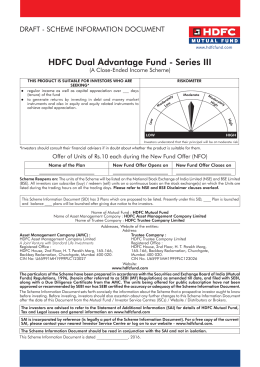 HDFC Dual Advantage Fund - Series III (A Close-Ended Income Scheme)