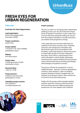 FRESH EYES FOR URBAN REGENERATION UrbanBuzz