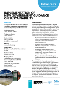 IMPLEMENTATION OF NEW GOVERNMENT GUIDANCE ON SUSTAINABILITY UrbanBuzz