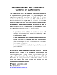 Implementation of new Government Guidance on Sustainability