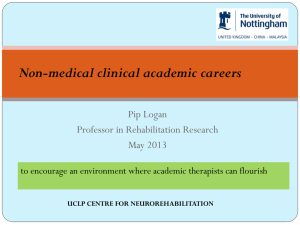 Non-medical clinical academic careers Pip Logan Professor in Rehabilitation Research May 2013