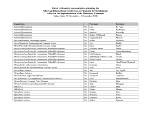 List of civil society representatives attending the