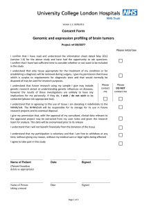 Consent Form Genomic and expression profiling of brain tumors Project ref 08/0077